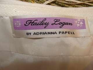 ADRIANNA PAPELL WHITE SEQUIN BUST WEDDING DANCE COCKTAIL EVENING DRESS