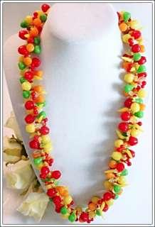Vintage Designer Fruit Salad Necklace Early Plastic