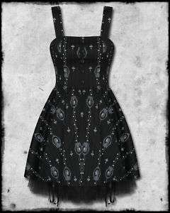 SPIN DOCTOR BLACK PSYCHO CAMEO SKULL GOTH PROM DRESS SZ
