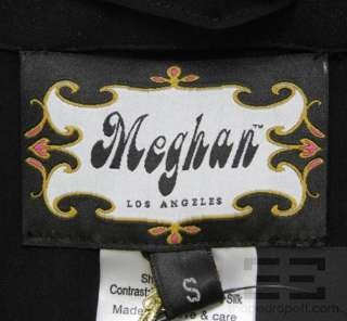 Meghan Los Angeles Black Silk Pleated Rhinestone Trim Dress Size Small