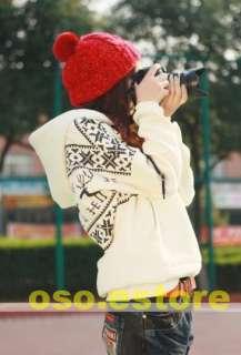 Korean Girls Snowflake Deer Print Sweatshirt Warm Top Hoodie Outwear