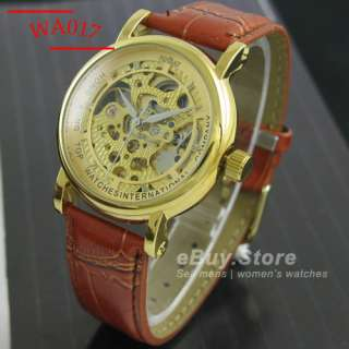Date Automatic Mechanical Brown/Black Leather Wrist Watch 9 Styles