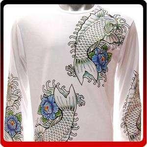 Koi Rockabilly Japanese Handmade Graphic Tattoo Tee Street LS T shirt