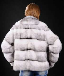 Full skin male SAGA ROYAL Black Cross Mink Fur jacket   pelts across