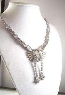 Vintage Jay Flex Sterling Clear Rhinestone Necklace