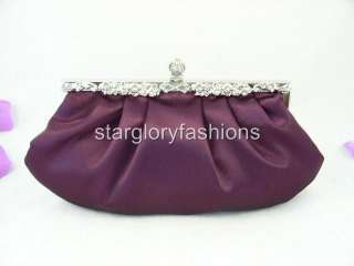 Victorian Jeweled Purple Satin Wedding Purse Clutch ECR 068165
