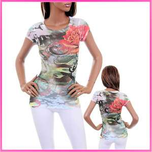 W86 PEACE ROSE Rhinestone Tattoo Dress Tee T Shirt Top