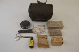 WWII World War 2 US GI Army USMC First Aid Medical Kit Lot Bag/Case w