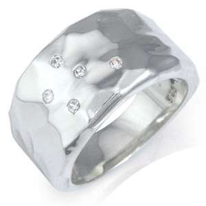 Genuine White Diamond 925 Sterling Silver Hammered Ring