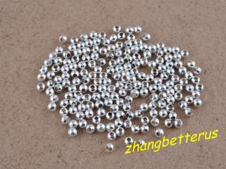 600 Pcs Silver Plated Round Spacer Loose Beads Charms Findings 3mm