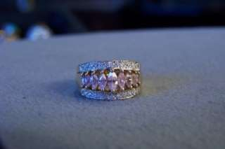 ANTIQUE SILVER GOLD 22 DIAMOND 9 PINK TOPAZ BAND RING 8