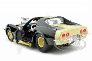 diecast car model of 1970 chevrolet corvette pro street black custom