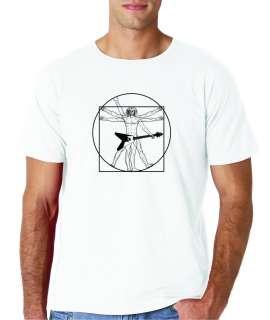 Mens Leonardo Da Vinci Vitruvian Guitar Man T Shirt Tee