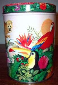 TROPICAL BIRDS AND MONKEY Metal Tin Box Container Canister