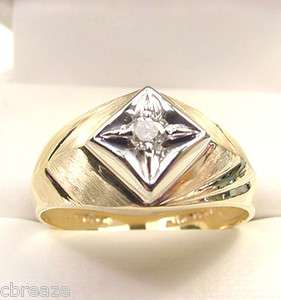 DIAMOND .10 CT 10K YELLOW & WHITE GOLD MENS VINTAGE RING