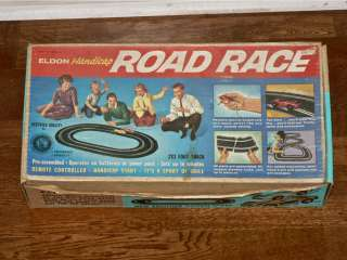 Eldon Handicap Slot Car Box with Track & 1 blue Car RUNS |