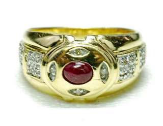 Estate 14k yellow Gold   Diamond & Natural cabochon Ruby ladies