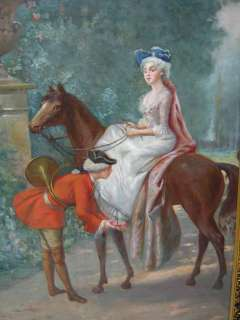 Great antique oil on canvas horse painting # as/115