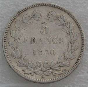 FRANCE 5 FRANCS SILVER COIN, CROWN , SUPERB XF 1870