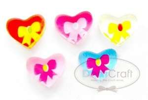 B0634 (45pcs) HEART BOW RIBBON NAIL ART FLATBACK SUPPLY