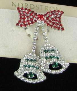 New  Christmas Bells brooch pin RHINESTONE $42