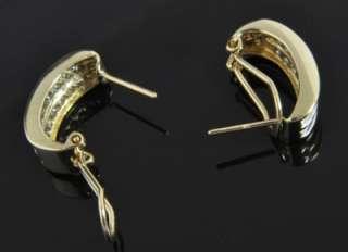 White 14K Gold Diamond Omega French Clip Huggie Hoop Earrings