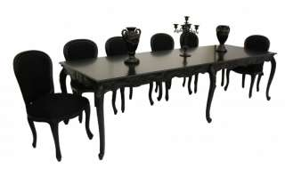 French Black Family 10 Seater Dining Table & Chairs Designer chic