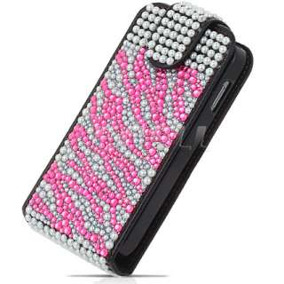Ecell Designer Range   Leather Bling Flip Case for Samsung S5830