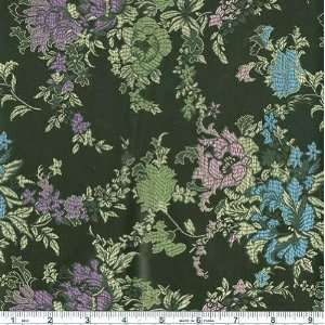 44 Wide Oriental Brocade Fabric Peony Black By The Yard