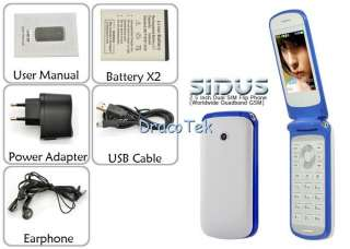 Sidus F708   2.5 inch Dual SIM Flip Mobile Phone bluetooth (white,red