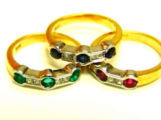 EMERALD RUBY SAPPHIRE DIAMOND STACK RING, HOT