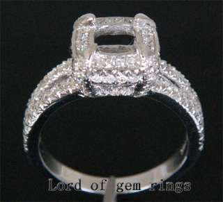 Solid 14k White Gold .81CT Diamond Semi Mount Engagement Ring