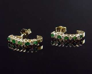 14K Half Hoop Eternity Style Natural Emerald & Diamond Earrings
