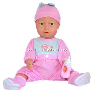 Large Crying Feeding New Born Baby Doll Bottle Girls Toy Dolls Clothes