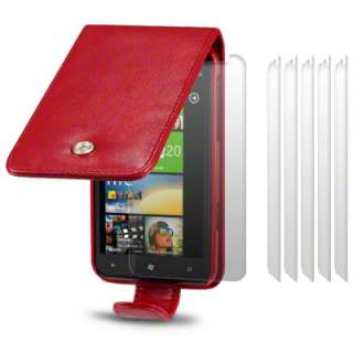 PREMIUM PU LEATHER FLIP CASE FOR HTC TITAN + 6 PC LCD GUARD   RED