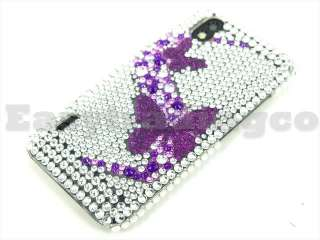 Crystal Bling Case Cover for LG Optimus Black P970 Purple Butterfly