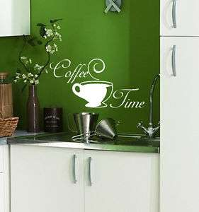 STICKER MURAL DECO CUISINE CAFE COFFEE TIME 40/20CM