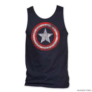 Officially Licensed Marvel Captain America Distresses Shield Tank Top