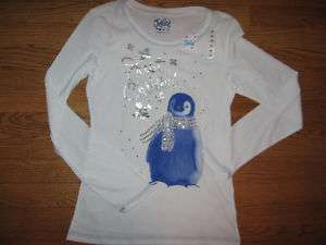 JUSTICE GIRLS NWT WHITE PENGUIN SNOWFLAKE SHIRT 16
