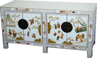 Chinese Furniture White Hand Painted Storage Cabinet