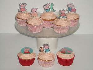 24 PEPPA PIG EDIBLE CUPCAKE/FAIRY CAKE TOPPERS **STAND UPS**