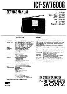 SONY ICF SW7600G COMPLETE SERVICE MANUAL SUPPLIED ON CD