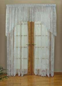 Lee Anne Floral Lace Curtain Pair 120x63,120x84