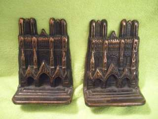 Vintage Metal Bookends Cathedral at Reims Rheims France