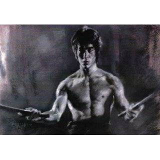 Bruce Lee Sketch Portrait, Charcoal Graphite Pencil Drawing   Double