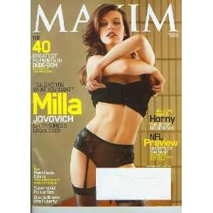 Maxim September 2009 Milla Jovovich NFL Preview 40 Greatest Moments in