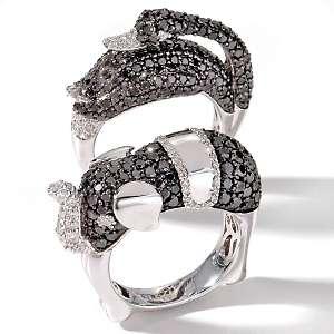Perez Black and White Diamond 14K White Gold Animal Ring