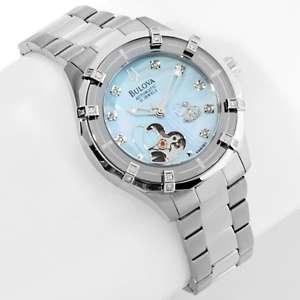 Bulova Ladies Automatic Open Heart Diamond Bracelet Watch