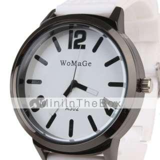 Silicone Band Classic Big Dial Fashion Quartz Women Men Casual Watch