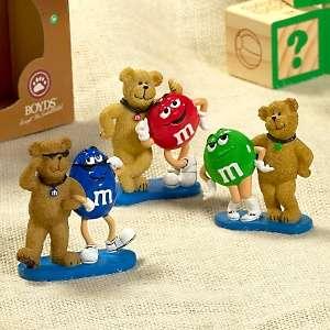 Boyds Bears 3 Resin Bears with M&M Figurines